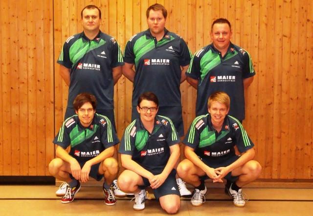 TTV Vilshofen(Herren I)  - Saison 2013/14: (hinten v.l.) Jan Valka, Dennis Obermüller, Thomas Wiener (MF),  (vorne v.l.) Dominic Schlaffer, Sebastian Schacherl, Stephan Katzbichler
