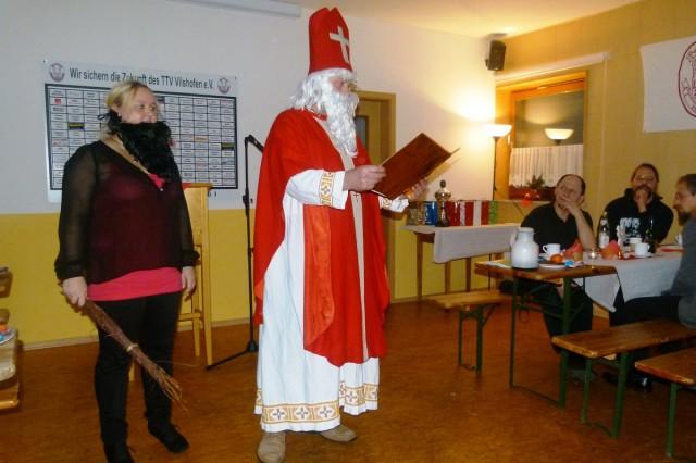"""Der Heilige Nikolaus und sein """"Krampus""""."""