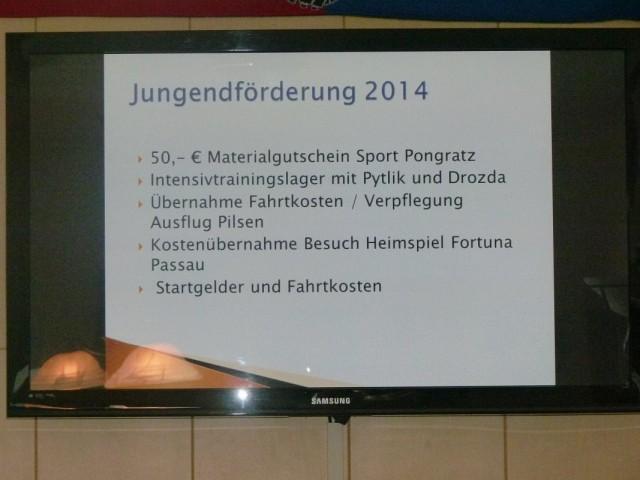 Per PowerPoint wurden die Leistungen des Förderkreises für das Vereinsjahr 2014 visualisiert.